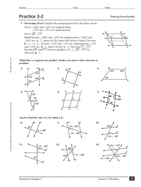 Geometry Proving Lines Parallel Worksheets Worksheets For All