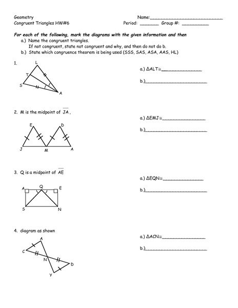 Geometry Worksheet Congruent Triangles Answers Worksheets For