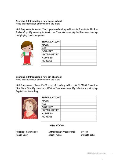 Giving Personal Information Worksheet