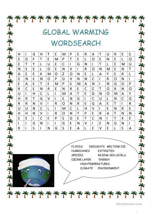 Global Warming Wordsearch Worksheet