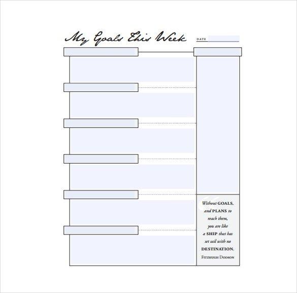 Goal Sheet Templates