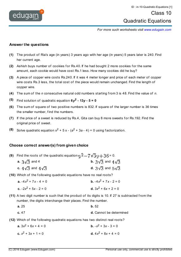 Grade 10 Math Worksheets And Problems  Quadratic Equations