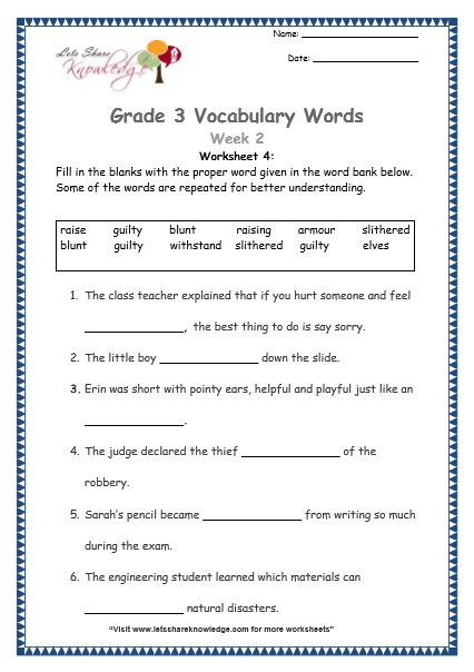 Grade 2 Vocabulary Worksheets Worksheets For All