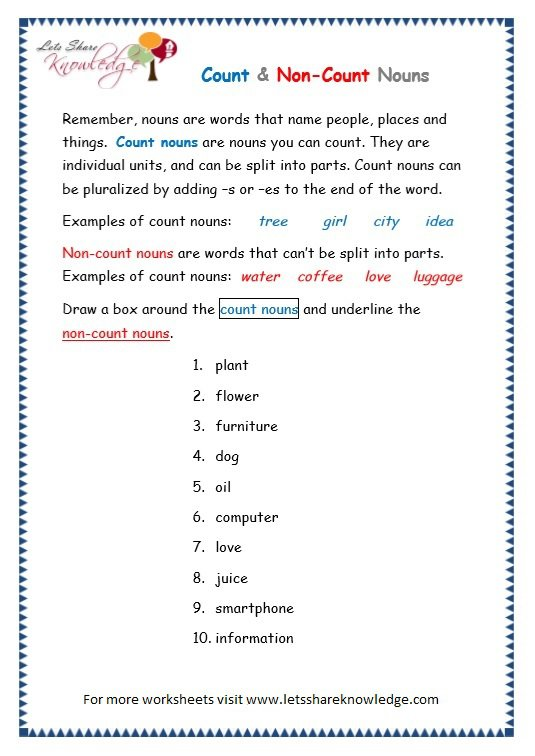 Grade 3 Grammar Topic 12  Count And Noncount Nouns Worksheets