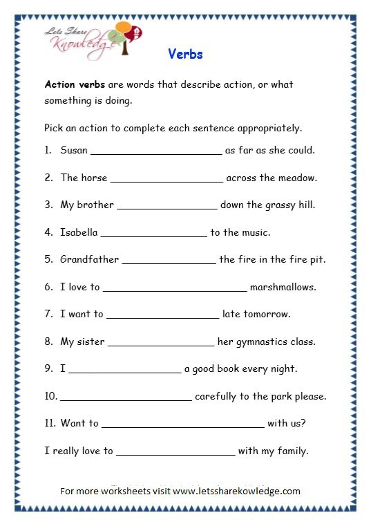 Grade 3 Grammar Topic 13  Verbs Worksheets