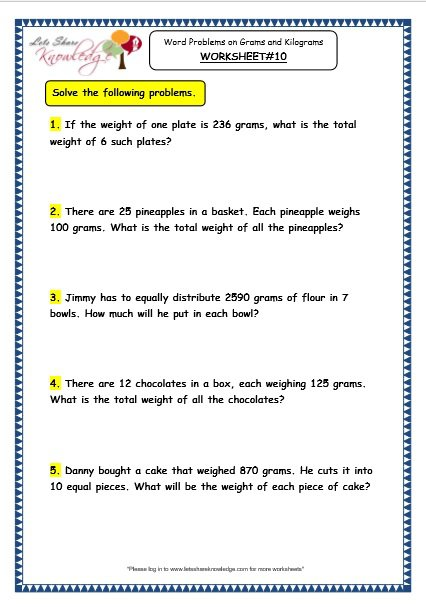 Grade 3 Maths Worksheets  (12 8 Word Problems On Multiplication