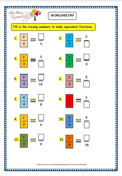 Grade 3 Maths Worksheets  (7 5 Equivalent Fractions)