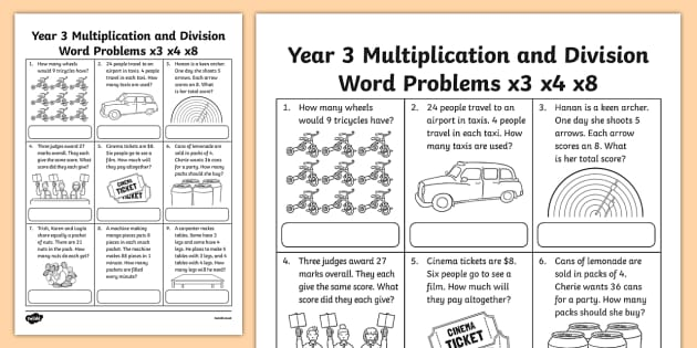 Grade 3 Multiplication And Division Word Problems X3 X4 X8