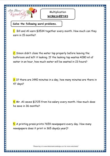 Grade 4 Maths Resources (1 6 3 Multiplication Word Problems