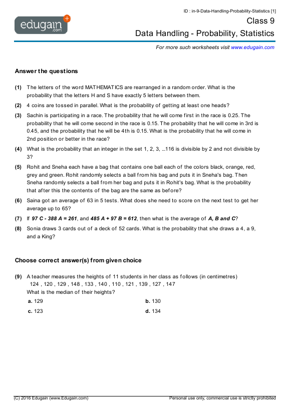 Grade 9 Math Worksheets And Problems  Data Handling