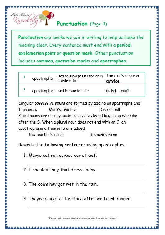 Grade Grammar Topic Punctuation Worksheets Lets Sh On Grade