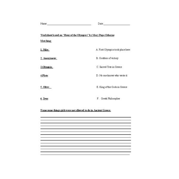 Greek Gods Worksheets Worksheets For All