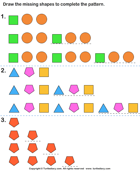 Growing Pattern With Shapes Worksheet