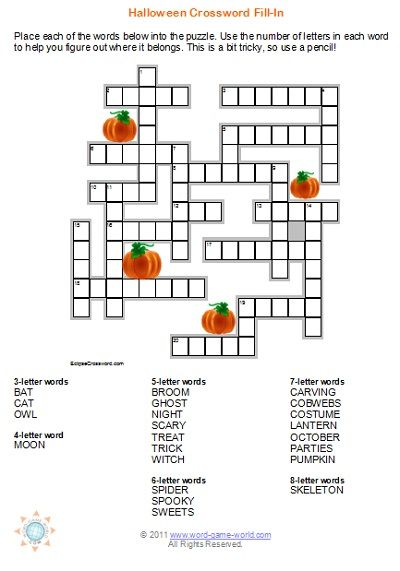 Halloween Crossword Puzzles Are Great For Your Fall Party