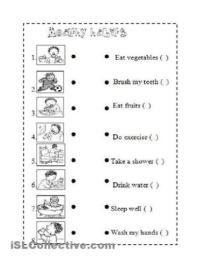 Healthy Habits For Kids Worksheets Images For Good Health Habits