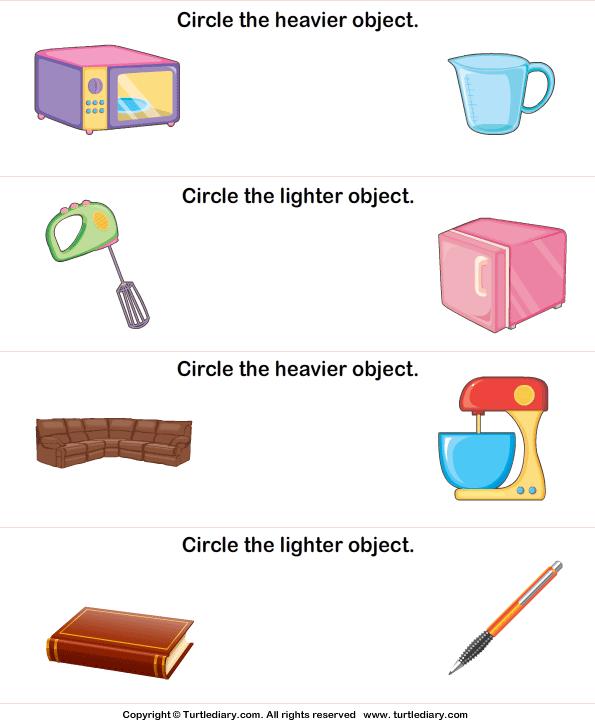 Heavy Vs Light Worksheet