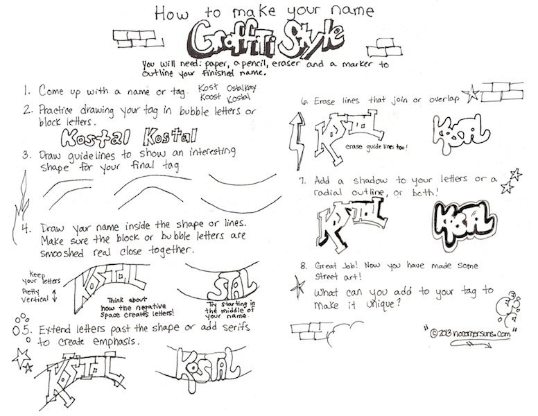 Here Is My  How To Write Your Name Graffiti Style   Handout