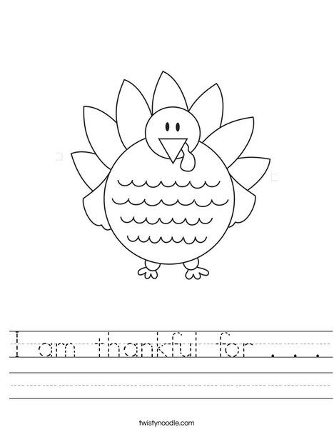I Am Thankful For Worksheet