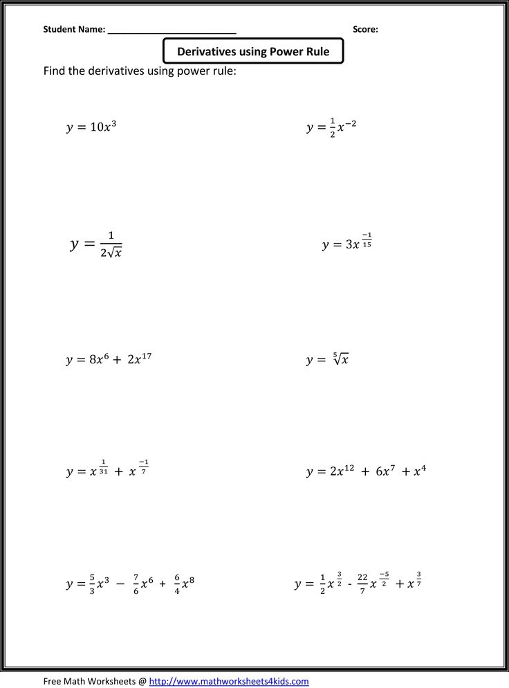Ideas Collection Calculus Worksheets With Summary Sample