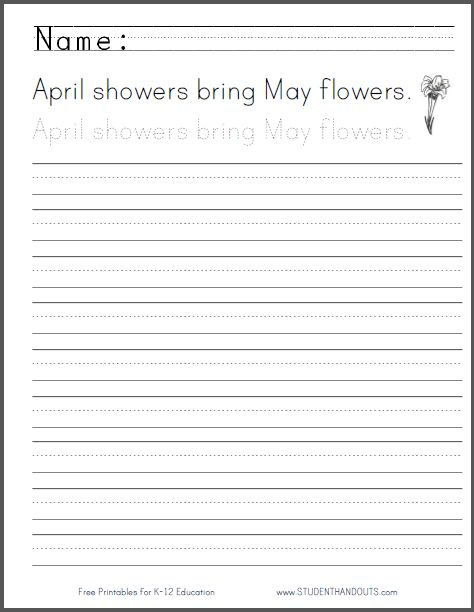 April Showers Handwriting Practice Worksheet English Handwriting