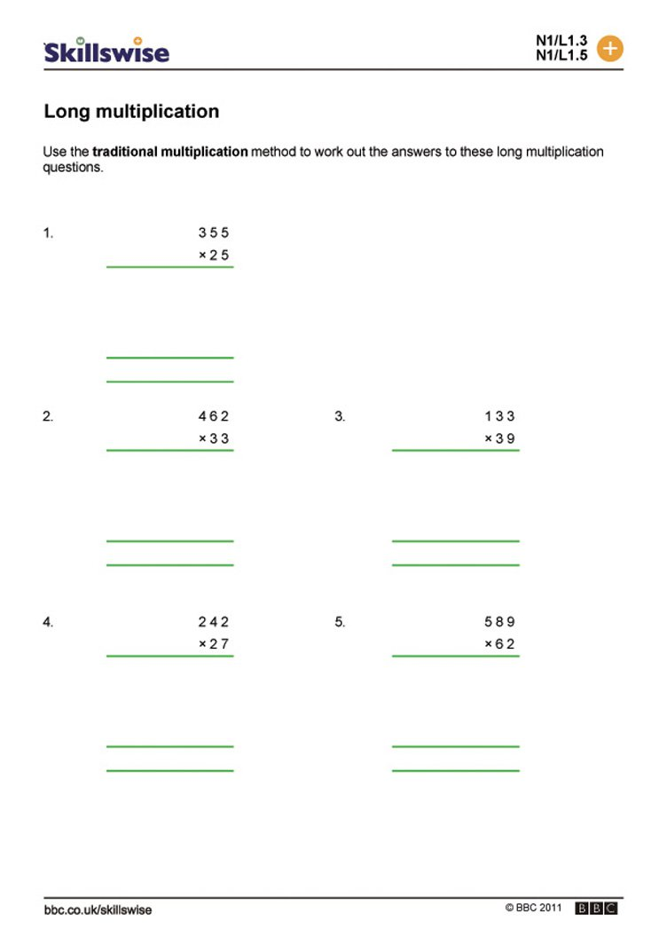 Ideas Of Long Multiplication Worksheets For Cover