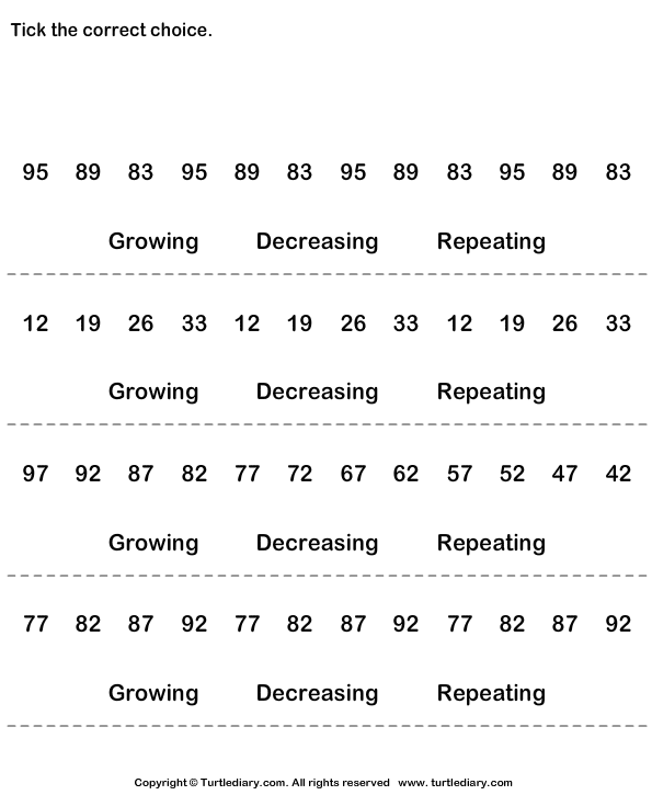 Identify Growing Decreasing Or Repeating Patterns Worksheet