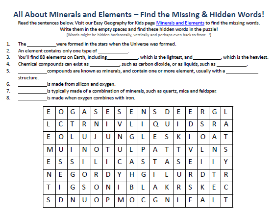 Image Of Minerals And Elements Worksheet