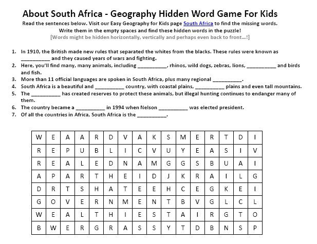 Image Of South Africa Worksheet