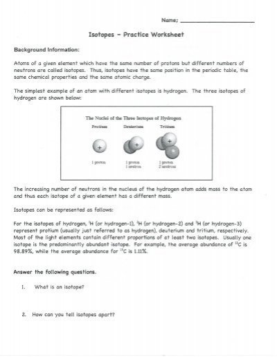 Isotope Practice Worksheet Answers Worksheet Isotope Worksheet