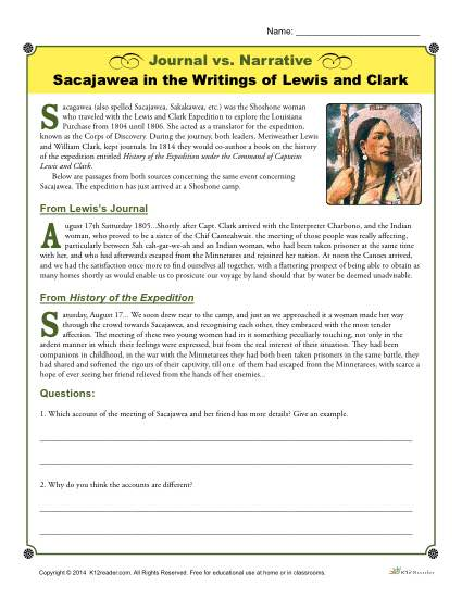 Journal Vs  Narrative Activity  Sacajawea By Lewis And Clark