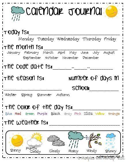 Kindergarten Calendar Activities Worksheets