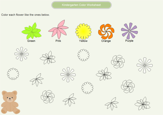 Kindergarten Color Worksheet