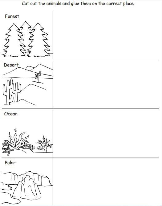 Kindergarten Habitat Worksheets Worksheets For All