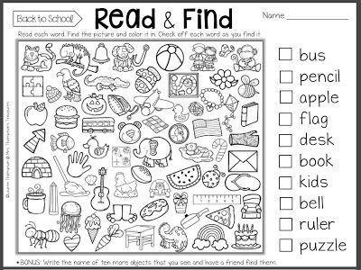 Kindergarten Worksheets For The First Week Of School