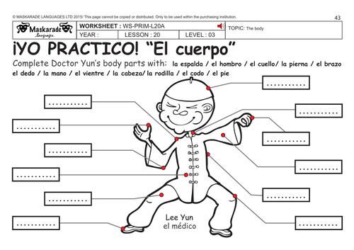 Label Body Parts Worksheet Spanish