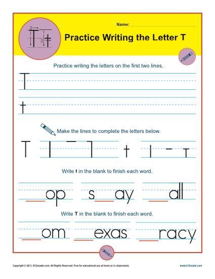 Letter T Worksheets