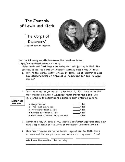 Lewis And Clark Worksheet Answers Worksheets For All