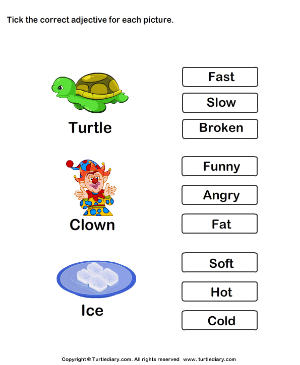 Match Adjectives With Picture Worksheets