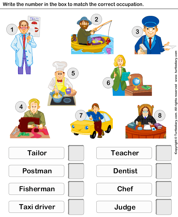 Match The Occupation With Person Worksheet