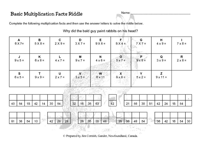 Math Multiplication Puzzle Worksheets Worksheets For All