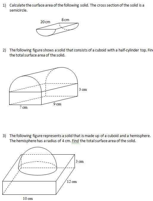 Maths Worksheets Volume And Surface Area