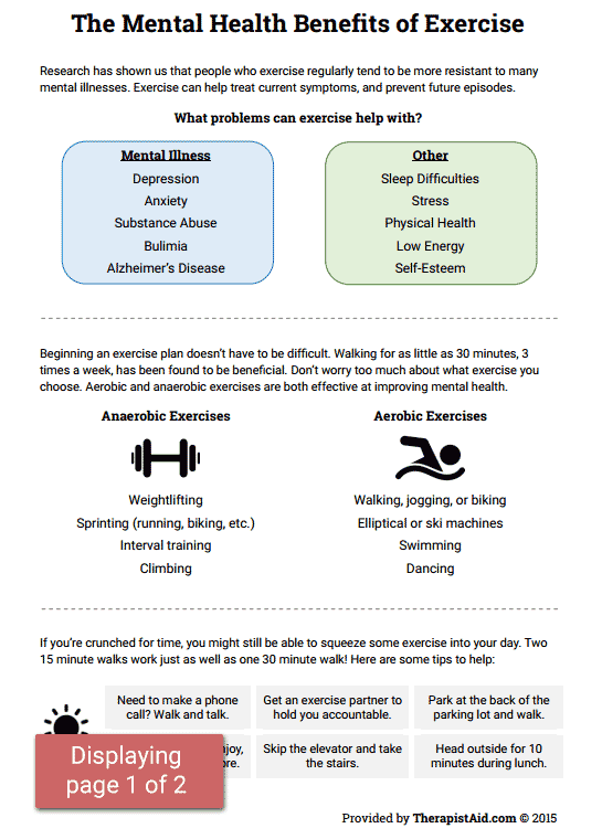Mental Health Worksheets Pdf Mental Health Benefits Of Exercise