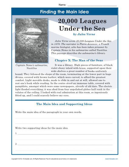 Middle School Main Idea Worksheet About 20,000 Leagues Under The Sea