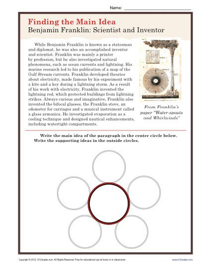Middle School Main Idea Worksheet About Ben Franklin