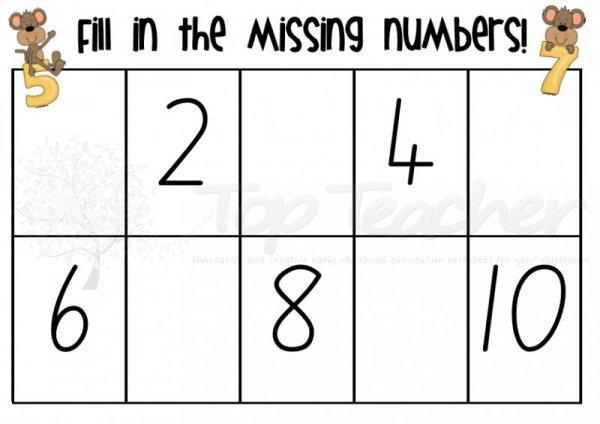 Missing Number Worksheets 1 10 Worksheets For All