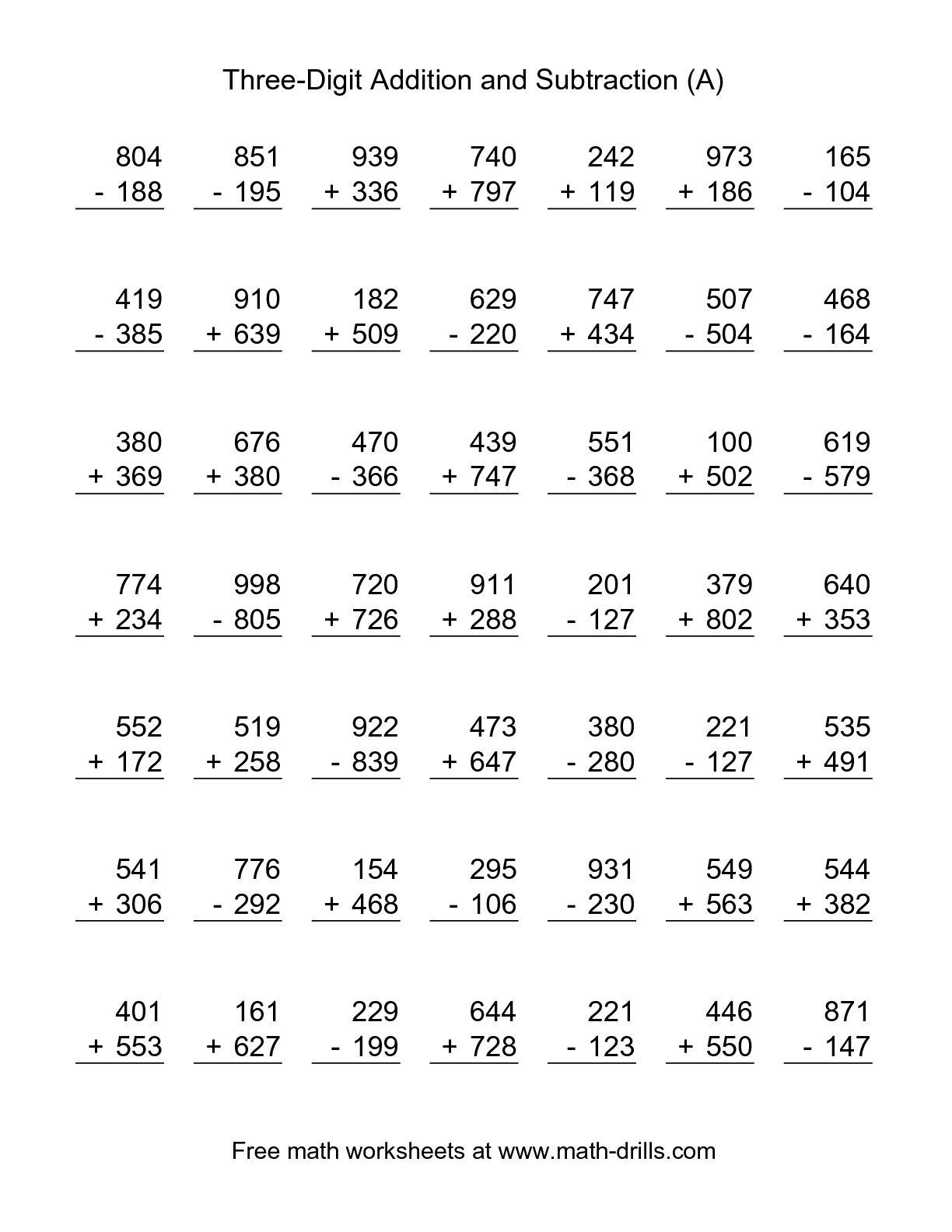 Mixed Math Worksheets