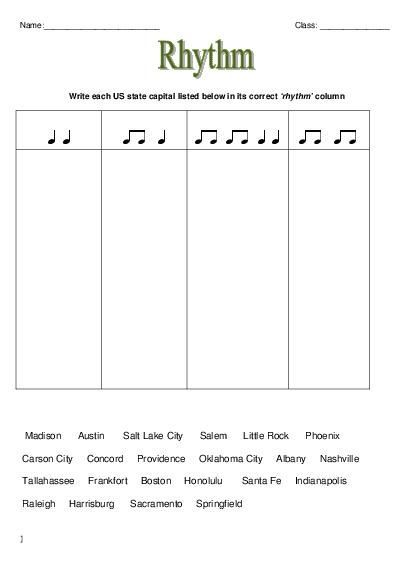 Music Theory  Rhythm Worksheets Lesson Plan