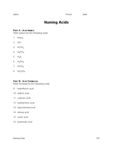 Naming Acids And Bases Worksheet Worksheets For All