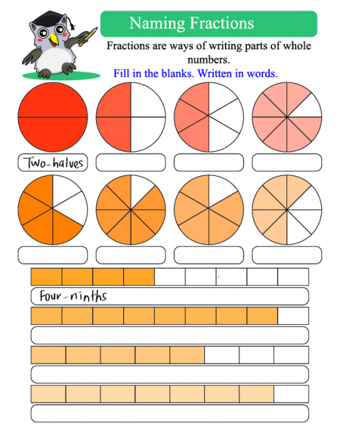 Naming Fractions Worksheets Worksheets For All