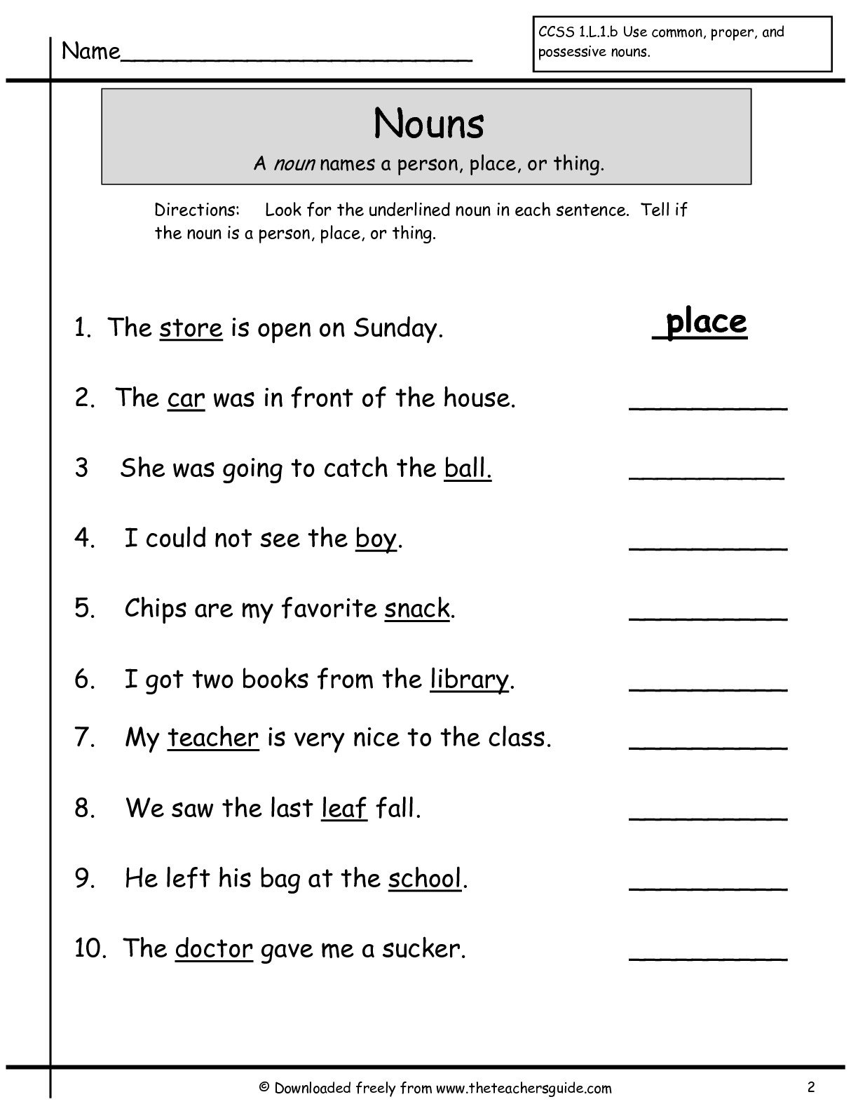 Nouns Worksheet For First Grade